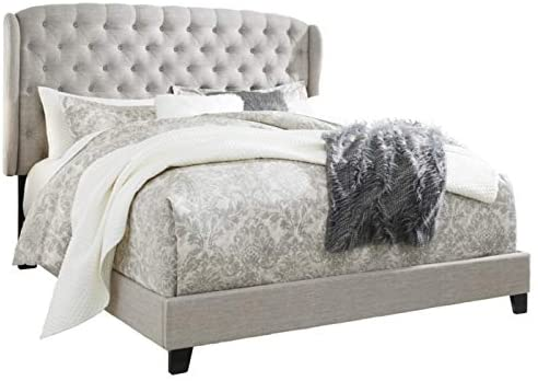 Signature Design By Ashley Jerary King Upholstered Tufted Wingback Bed Frame, Gray 4159Y 9J3L