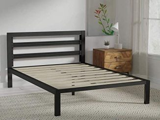 Amazon Basics Metal Bed with Modern Industrial Design Headboard – 14 Inch Height for Under-Bed Storage – Wood Slats – Easy Assemble, Queen 51Bgdlz6I8L