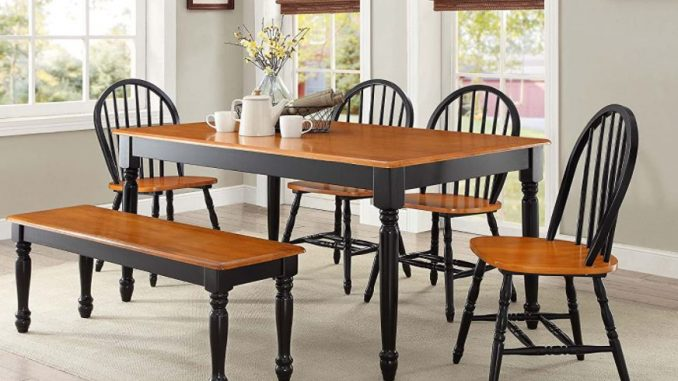 modern dining table set Top 10 modern Dining Table Chairs Autumn Lane 6 Piece Dining Set Black and Oak by Better Homes 678x381