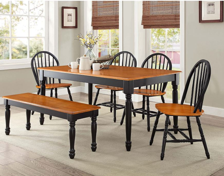 modern dining table set Top 10 modern Dining Table Chairs Autumn Lane 6 Piece Dining Set Black and Oak by Better Homes