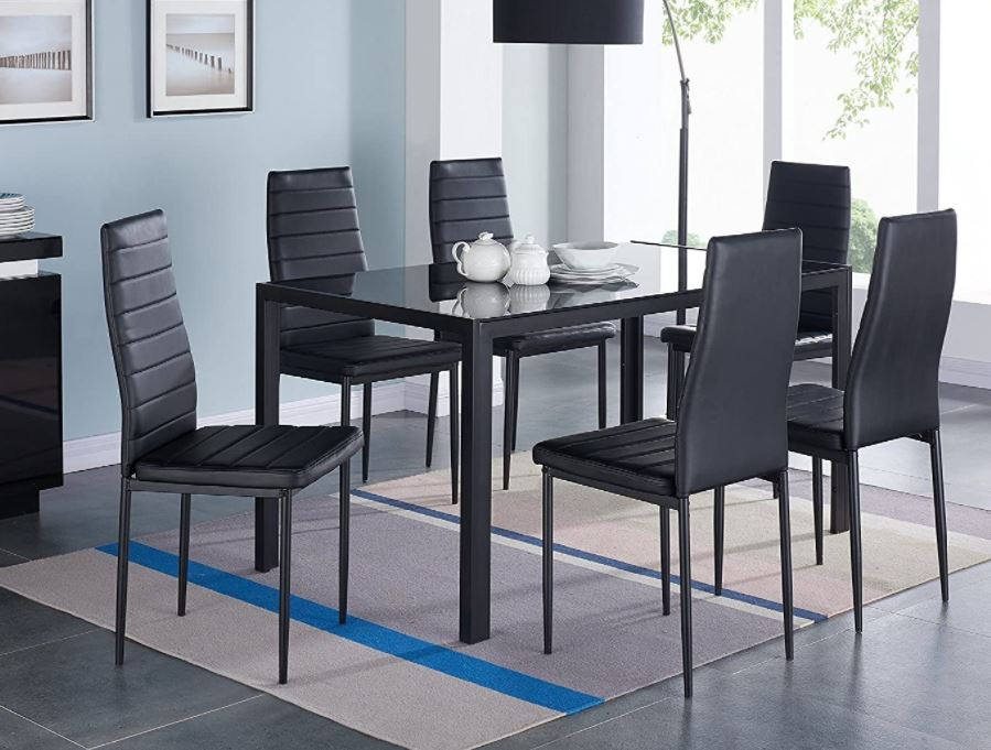 modern dining table set Top 10 modern Dining Table Chairs Modern Glass Dining Table Set Faxu Leather With 6 Chairs